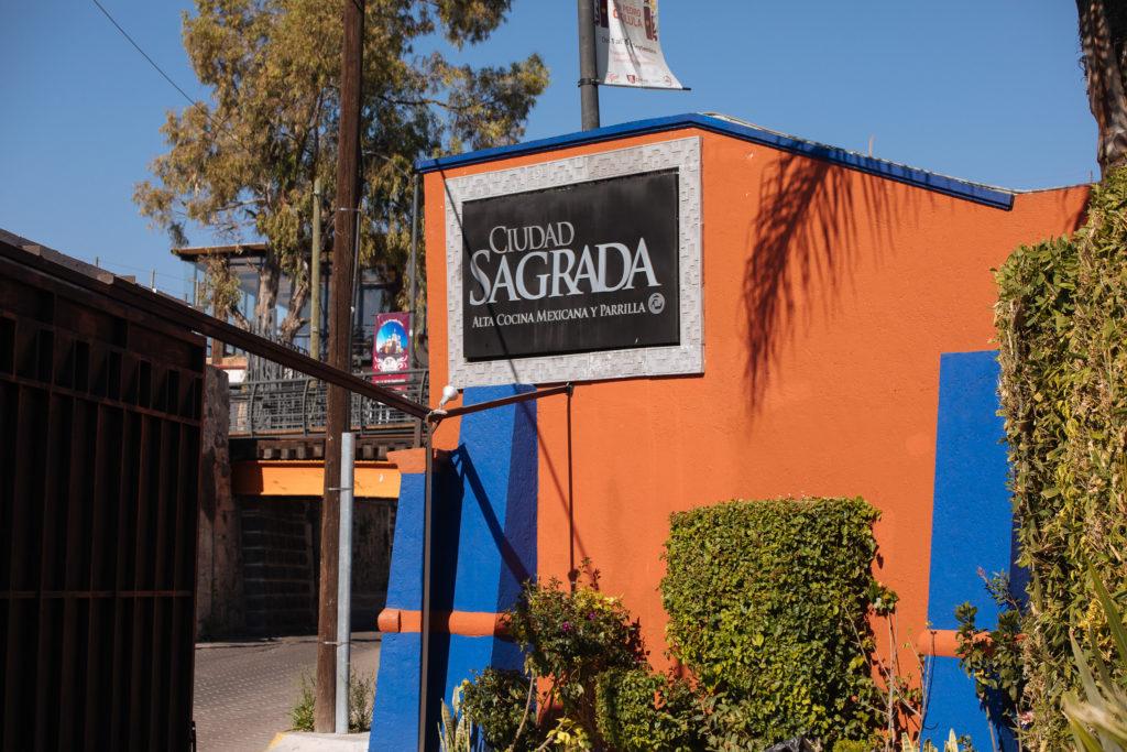 Eingangsschild Ciudad Sagrada in Cholula