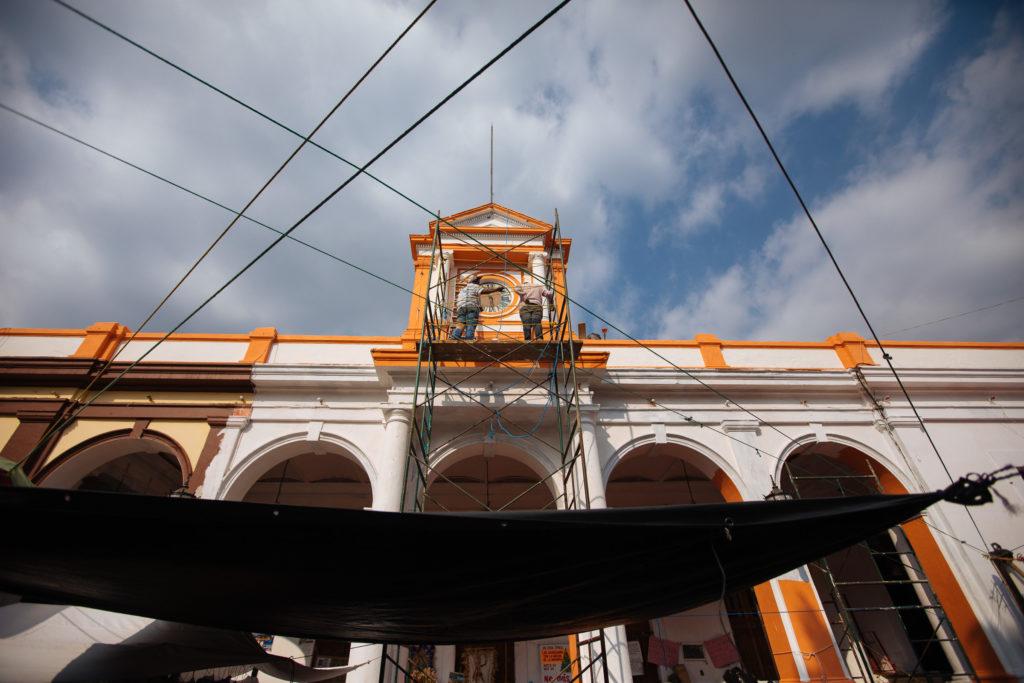 Renovierungsarbeiten am Rathaus Tepoztlán