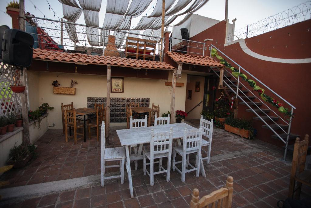 Terrasse der Pizzeria Quattro Cholula