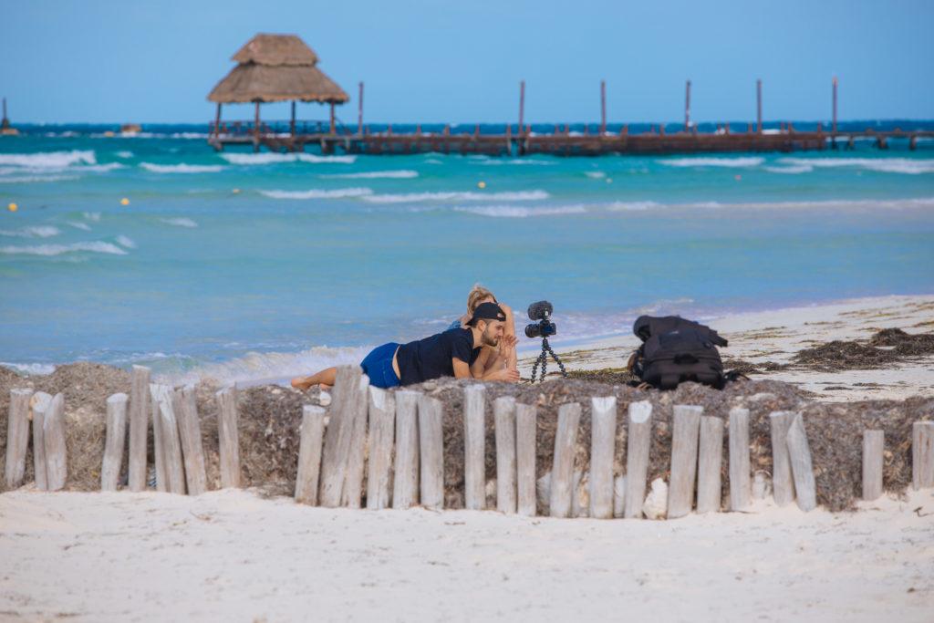 Vlogger am Strand