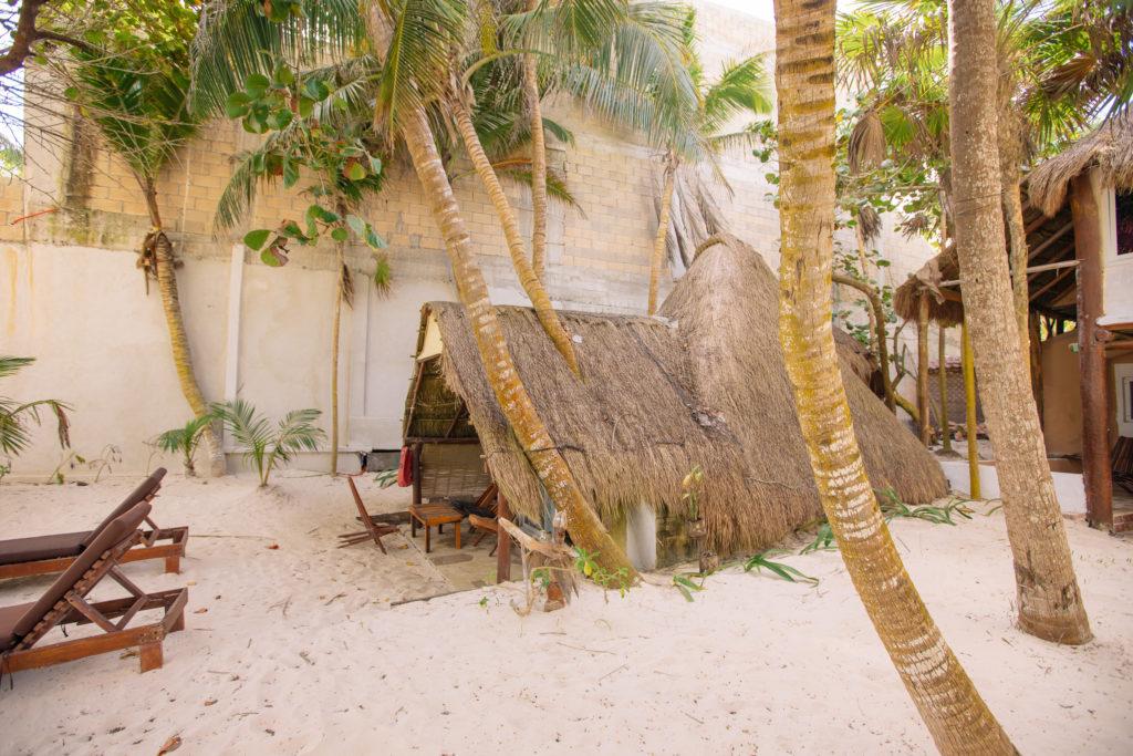 Palmen wachsen durch das Dach der cabaña bei der Playa Xcanan