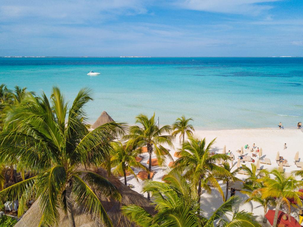 Palmen, Strand, Meer, Boot mit der Drohne