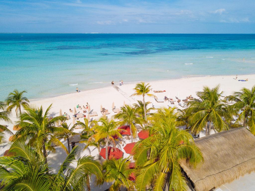 Palmen, Playa Norte und Meer mit der Drohne