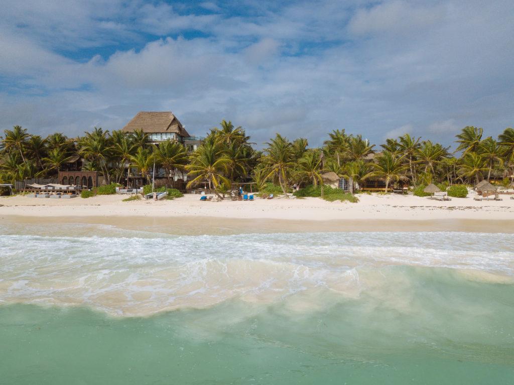 Aufgewühlter Sand im Wasser vor Palmen und Strand