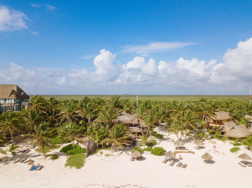 Blick über Tita Tulum, Strand, Palmen und Dschungel