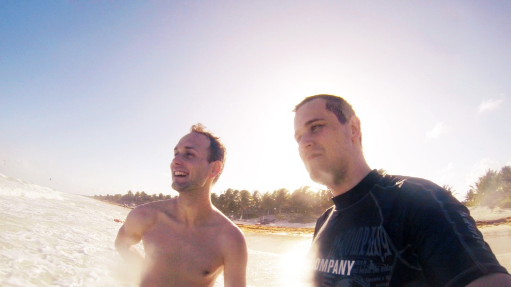 cool guys looking at waves